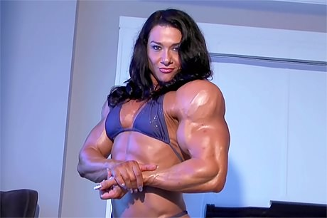 Truly huge ripped female bodybuilder bikini posing and flexing from wonderful katie morgan