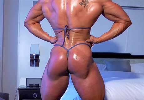 Truly huge female bodybuilder bikini posing and flexing from wonderful katie morgan