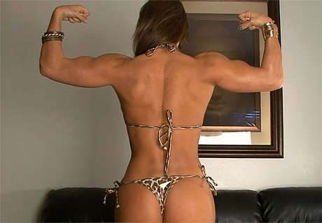 Sexy Fitness Goddess with strong muscles posing and flexing from wonderful katie morgan