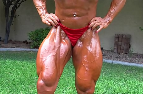 Sexy busty Female Bodybuilder oiled bikini posing outdoors from wonderful katie morgan