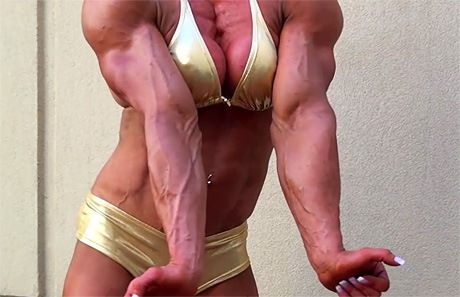 Busty blonde female bodybuilder with massive muscles from wonderful katie morgan