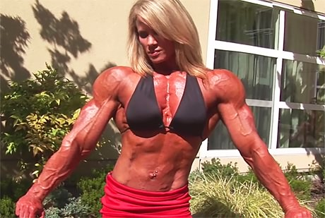 Busty massive blonde female bodybuilder with huge ripped muscles from wonderful katie morgan