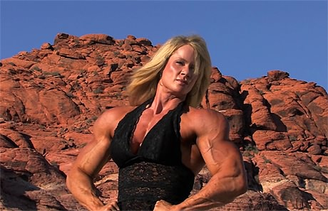 Tall muscular blonde Amazon posing and flexing outdoors from wonderful katie morgan