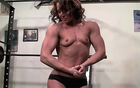 Beautiful Fitness Goddess flexing after heavy workout from wonderful katie morgan