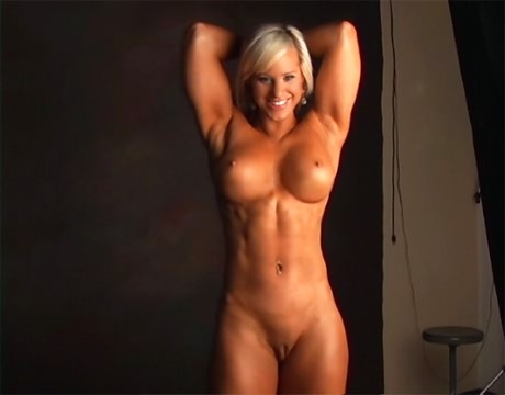 Busty Blonde Fitness Babe With Strong Muscles Nude Posing