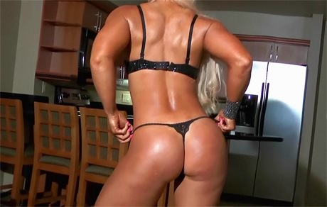 Busty blonde Fitness babe with strong muscles goes topless from wonderful katie morgan