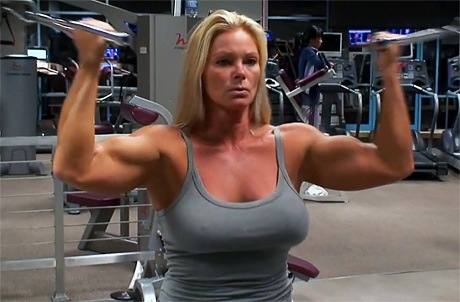 Big strong American Gladiator Raye Hollitt hard gym workout from wonderful katie morgan