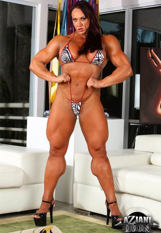 Female muscle porn star takes on two guys 8